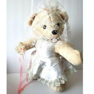 Rare Bridal Vintage Teddy Bear Wedding Bride Large